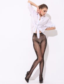 Fishnet Pantyhose With Rose Pattern