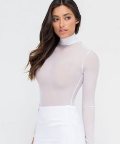 jual Bodysuit Sheer Turtleneck White