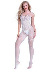 jual Lingerie Bodystocking Fishnet Garter Style White