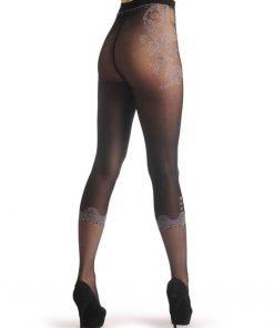 jual Pantyhose Floral Black Faux Capri