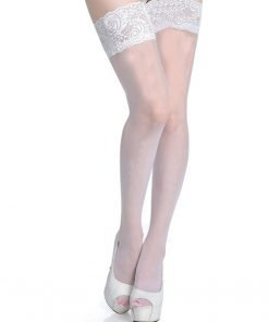 Stockings Sheer Thigh High White With Lace
