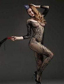 Bodystocking Open Crotch Leaf Lace Black