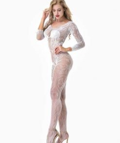 Bodystocking Open Crotch Leaf Lace White