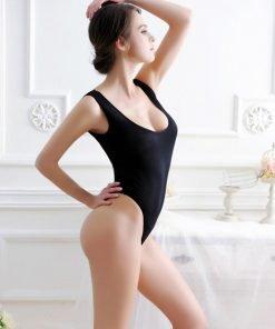 Sheer Bodysuit High Cut Black