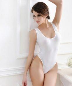 Sheer Bodysuit High Cut White