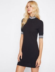Dress Striped Trim Ribbed Knit Fitted Black