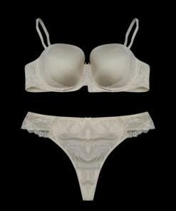 Bra Set C&A Satin Ivory Side Lace With Thong