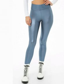 Sporty Leggings Metallic Stretch Knit Blue