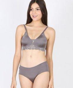 Bra Set Amitie Triangle Lace Wirefree Grey