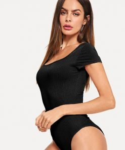 Bodysuit Skinny Ribbed Black