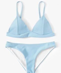 Bikini Set Seam Detail Triangle Top With Panty Blue