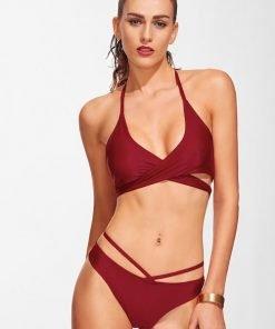 Bikini Set Wrap Cross Halter Top With Strappy Burgundy