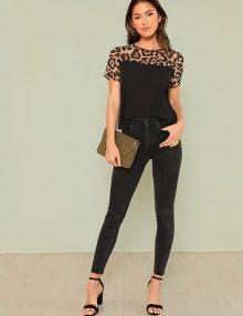 Cut And Sew Leopard Yoke Top