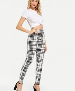 Leggings Plaid Skinny White