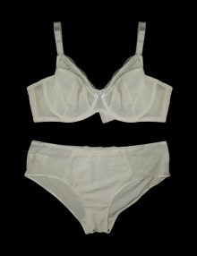 Bra Set Flocking Dots White Ivory