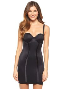 Shapewear Women's Easy Up Strapless Full Slip Black