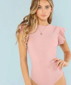 Bodysuit Ruffle Detail Textured Pink
