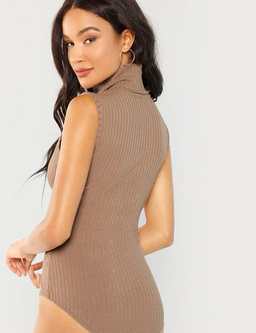 Bodysuit Solid High Neck Ribbed Knit