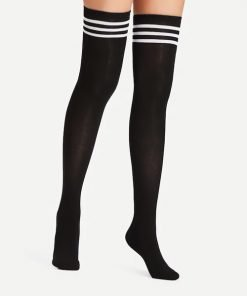 Kaos Kaki Over The Knee Socks Striped Black