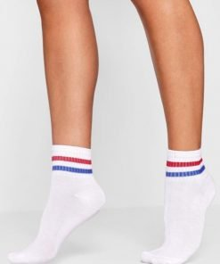 Kaos Kaki Ankle Urban Stripe Blue Red