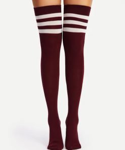 Kaos Kaki Two Pack Striped Over The Knee
