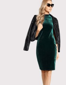 Long Velvet Dress Green