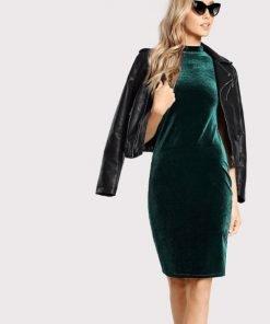 Long Velvet Dress Green