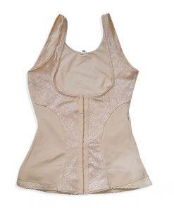 Vest Shapewear Front Closure Tribal Lace Nude
