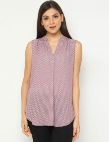 Blouse Casual No Sleeve Solid Abstract Print Purple
