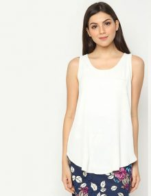 Blouse LOFT No Sleeve Polyester White Ivory