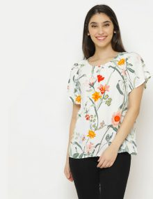 Blouse Short Sleeve Flower Print White