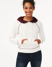 Hoodie Colorblocked Pullover Cream