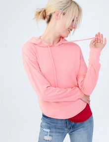 Hoodie LLD Solid Cut Out Pullover Coral Heart