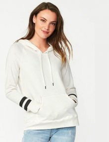 Hoodie Relaxed Fleece Striped White