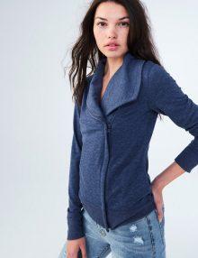 Jaket Wanita Solid Knit Moto Blue