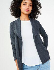 Jaket Wanita Solid Knit Moto Grey