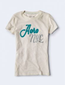 Kaos Wanita Aero NYC Script Graphic Cream