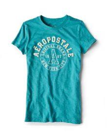 Kaos Wanita Aeropostale Round Neck Classic NYC Graphic Aqua Green