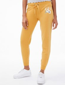 Sweatpants Jogger Aeropostale Embroidered Floral Logo Saffron Gold
