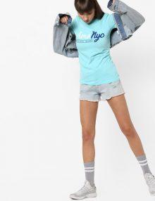 T-Shirt Appliqued Front Brushed Aqua