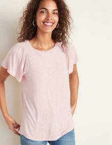 T-Shirt Slub Knit Smocked Shoulder Pink Peach