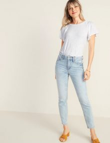 T-Shirt Slub Knit Smocked Shoulder White