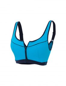 Sports Bra Front Zipper High Impact Double Layer Blue