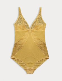 Bodysuit Divide Lace Free Pad Yellow