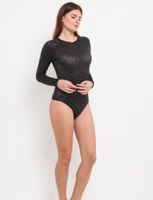 Bodysuit Long Sleeve Leopard Black