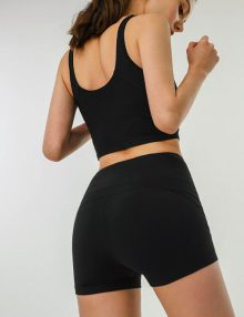 Sporty Casual Shorts Cotton Black